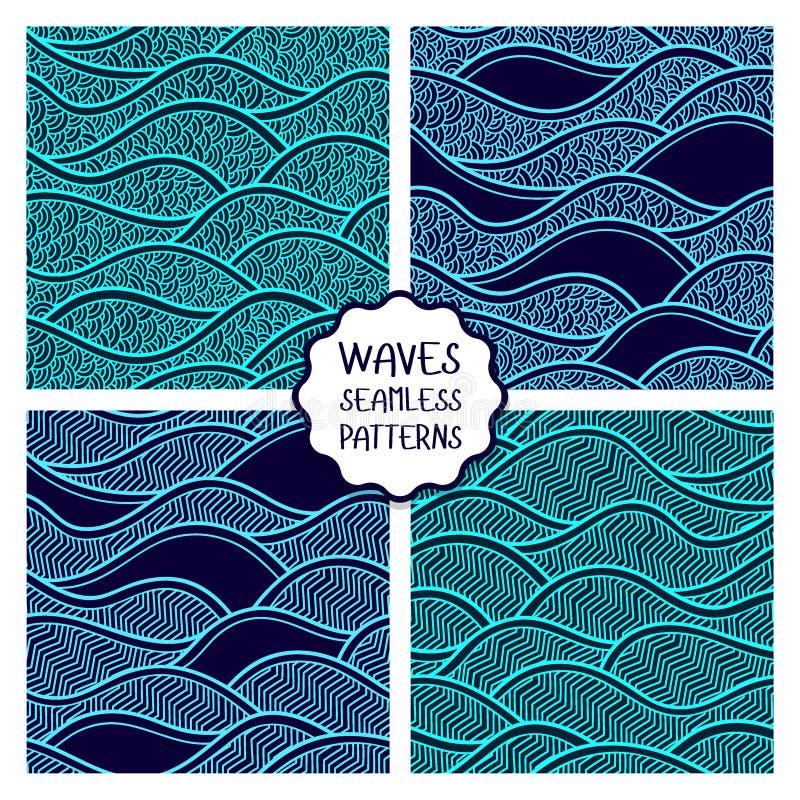 Vectorillustratie met abstracte golven of duinen Inzameling van geometrische ornamenten stock illustratie