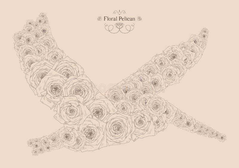Vectorillustratie met abstracte pelikaan vector illustratie