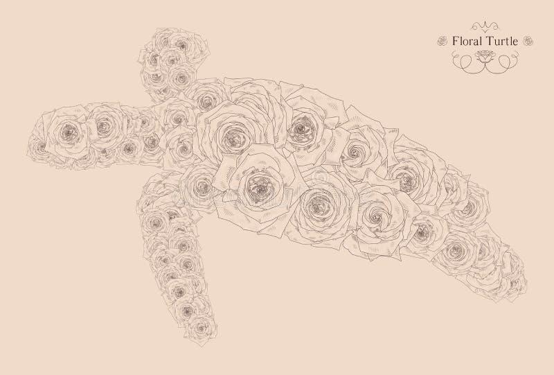 Vectorillustratie met abstracte schildpad stock illustratie