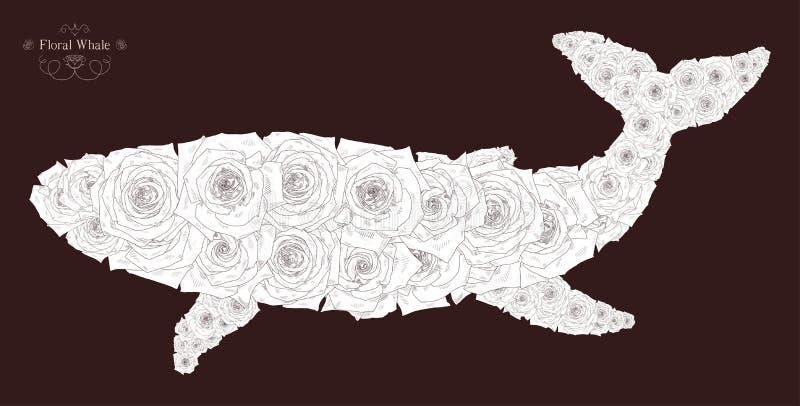 Vectorillustratie met abstracte walvis stock illustratie