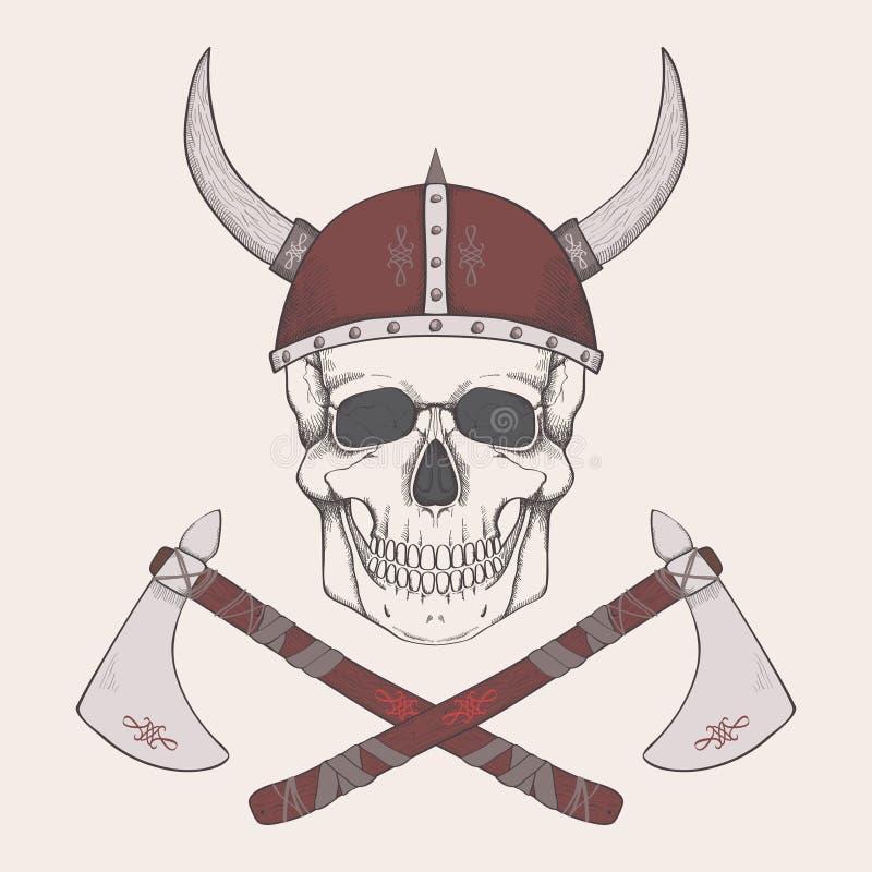 Vectorillustratie met assen en menselijke schedel die de helm van Viking dragen stock illustratie