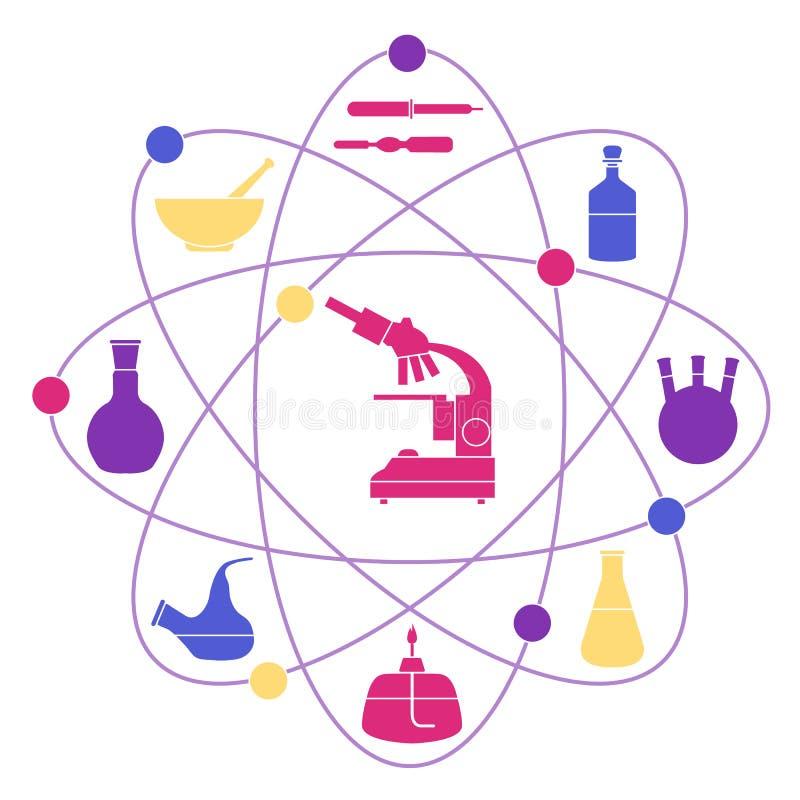 Vectorillustratie met atoomstructuur, glaswerkflessen, brander, microscoop De apparatuur van het laboratorium vector illustratie