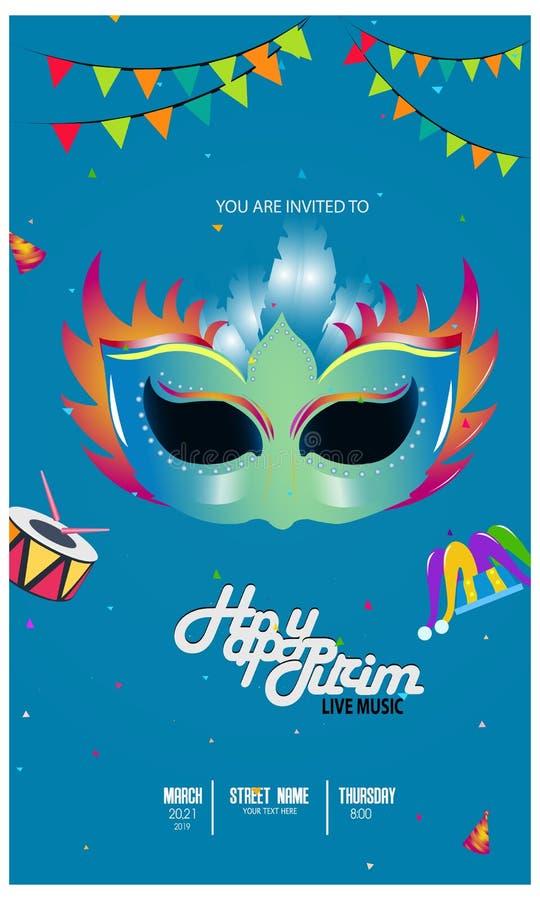 Vectorillustratie met Carnaval en feestvoorwerpen Malplaatje voor Carnaval, stock illustratie