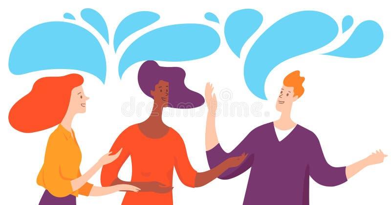 Vectorillustratie met drie bedrijfsmensen die gesprek nemen vector illustratie