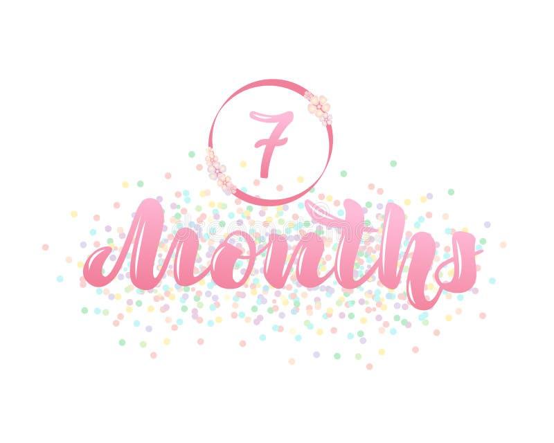 Vectorillustratie met een teller van de babyleeftijd - 7 maanden stock illustratie