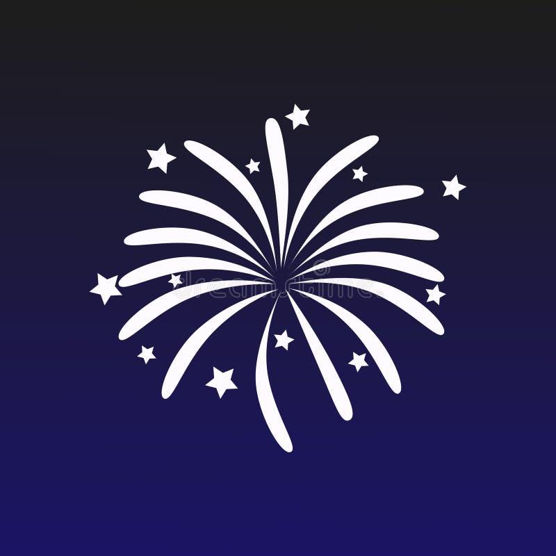 Vectorillustratie met een vuurwerk op een donkerblauwe achtergrond Mooie decoratiebegroeting voor vieringen vector illustratie