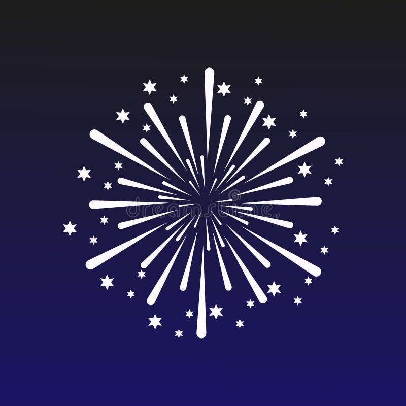 Vectorillustratie met een vuurwerk op een donkerblauwe achtergrond Mooie decoratiebegroeting voor vieringen royalty-vrije illustratie