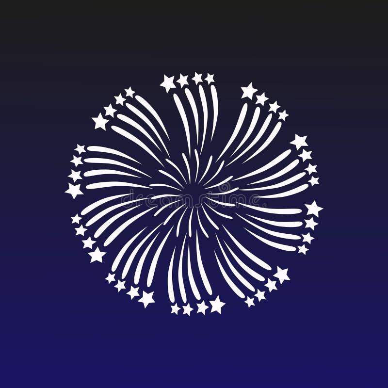 Vectorillustratie met een vuurwerk op een donkerblauwe achtergrond Mooie decoratiebegroeting voor vieringen stock illustratie