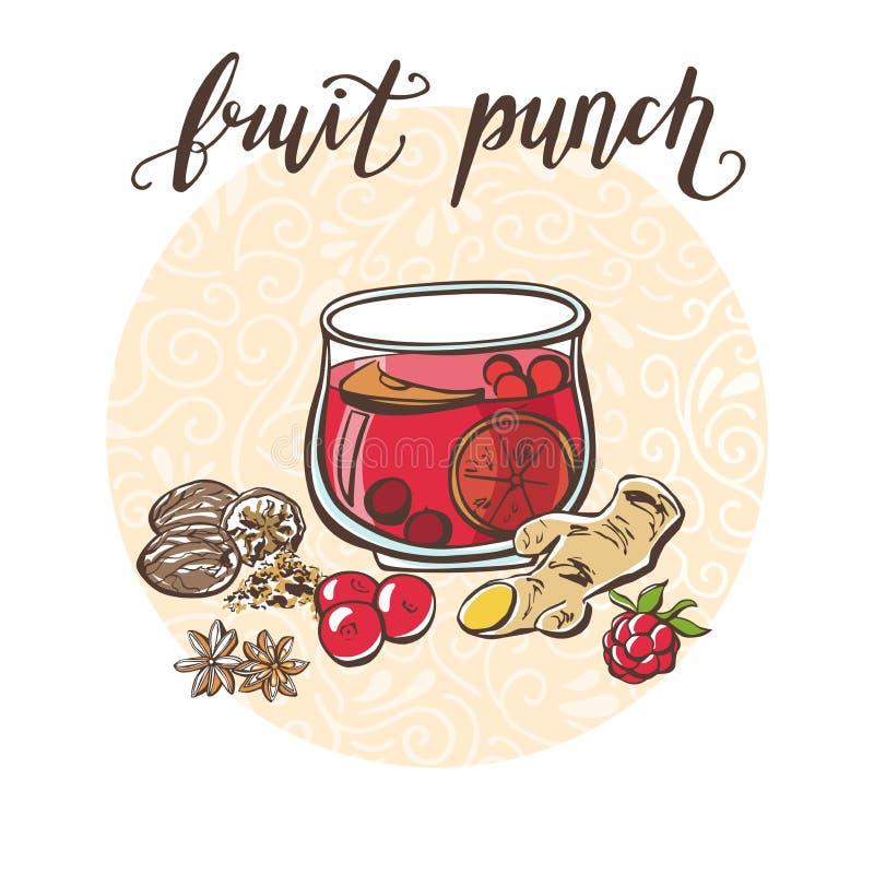 Vectorillustratie met Fruitstempel en zijn ingrediënten vector illustratie