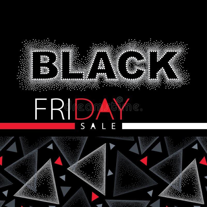 Vectorillustratie met gestippelde Black Friday-verkoopinschrijving in rood en wit Ontwerpmalplaatje voor banner of affiche voor v royalty-vrije illustratie