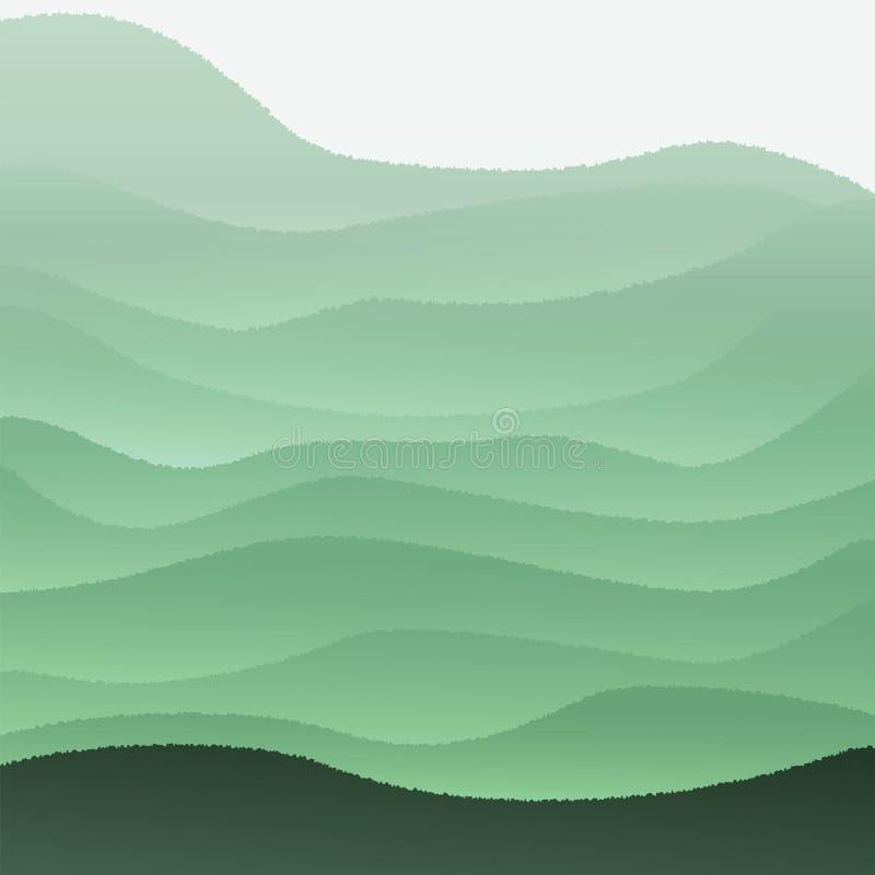 Vectorillustratie met groene heuvels royalty-vrije stock foto