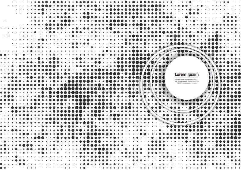 Vectorillustratie met halftone patroon Zwart-witte abstracte vectorachtergrond stock illustratie