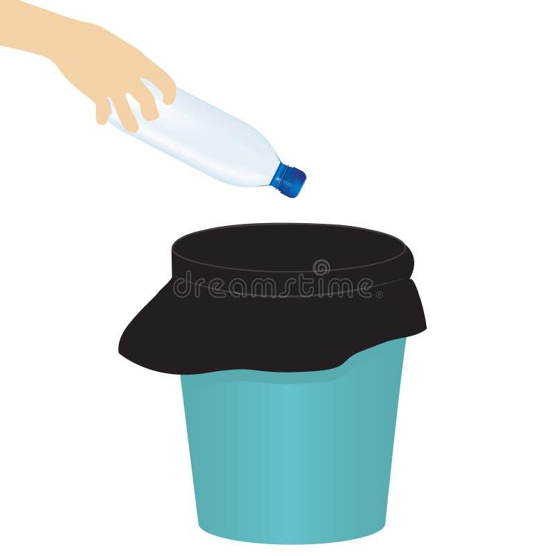Vectorillustratie met hand die stof werpen in het afval met stofzak royalty-vrije illustratie