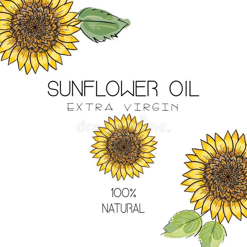 Vectorillustratie met 3 handdrawn zonnebloemen op witte achtergrond Ontwerp voor zonnebloemolie, zonnebloem natuurlijke verpakkin royalty-vrije illustratie