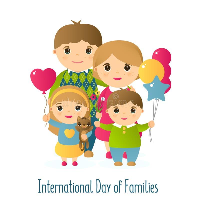 Vectorillustratie met het beeld van mensen Een gelukkige familie van vier en een kat Vakantie Internationale dag van Families stock illustratie