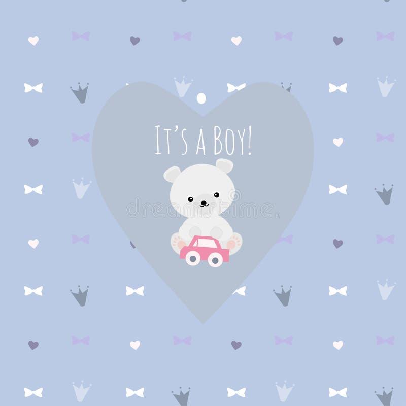 Vectorillustratie met het leuke ijsbeer spelen met een stuk speelgoed op B stock illustratie