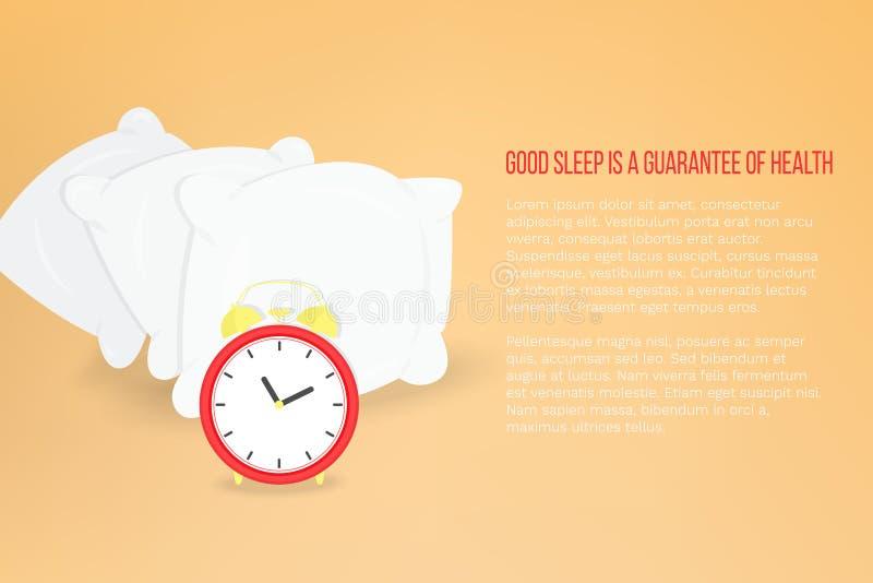 Vectorillustratie met hoofdkussens en wekker, achtergrond met plaats voor tekst stock illustratie