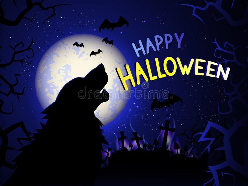 Vectorillustratie met huilende wolf op de nachtachtergrond met begraafplaats, mystieke lichten en tex royalty-vrije illustratie