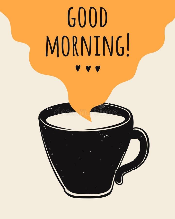 Vectorillustratie met koffiekop en Goedemorgen het van letters voorzien Moderne affiche stock illustratie