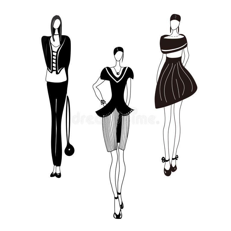 Vectorillustratie met meisjes, modellen, siluets schets manierdruk royalty-vrije illustratie