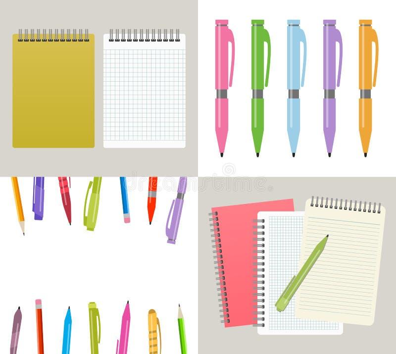 Vectorillustratie met notitieboekjes vector illustratie