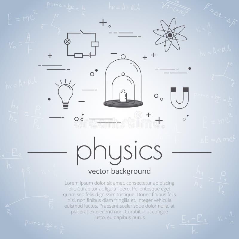 Vectorillustratie met pictogramreeks van schoolonderwerp - fysica Wetenschap en onderwijsachtergrond royalty-vrije illustratie