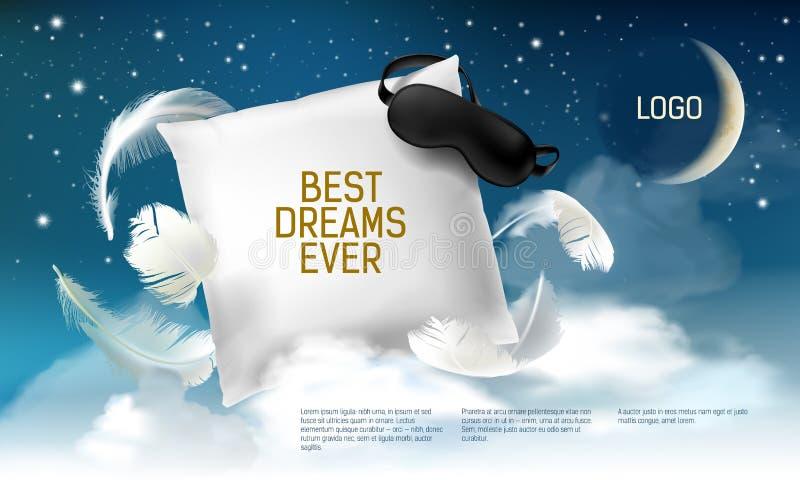 Vectorillustratie met realistisch 3d vierkant hoofdkussen met blinddoek op het voor de beste dromen ooit, comfortabele slaap vector illustratie