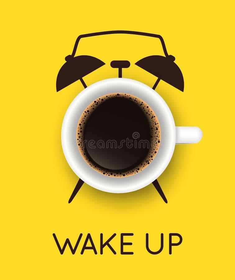 Vectorillustratie met realistische kop koffie en met de hand getekende wekker op gele achtergrond Breedtijd, goedemorgen, drinken stock illustratie