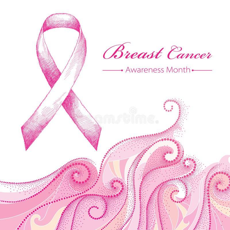 Vectorillustratie met roze lint en gestippelde roze wervelingen op witte achtergrond Het symbool van de de Voorlichtingsmaand van royalty-vrije stock foto's