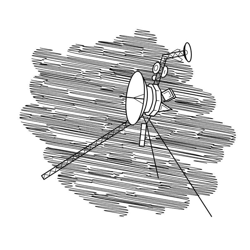 Vectorillustratie met ruimtesatelliet in diepe ruimte royalty-vrije illustratie