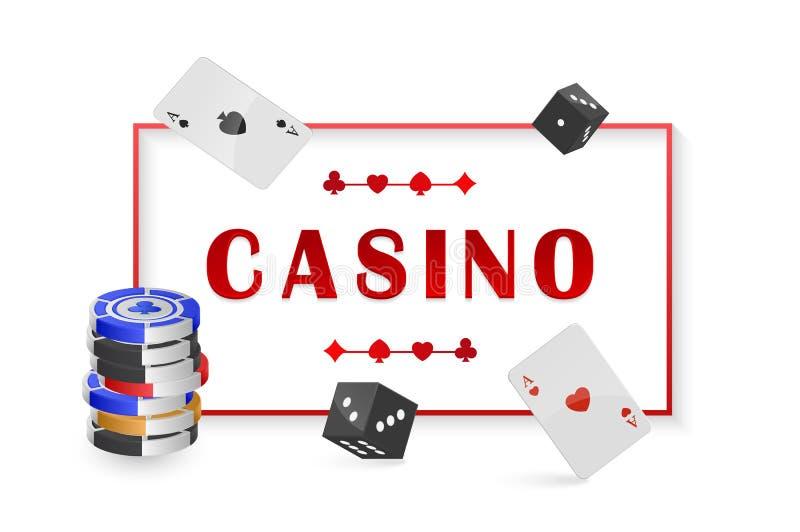 Vectorillustratie met Spaander en kaarten voor pook, casino affiche met kaderruimte voor uw tekst royalty-vrije illustratie