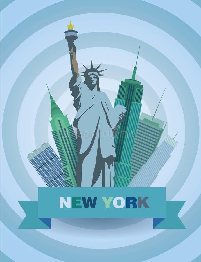 Vectorillustratie met Standbeeld van Vrijheid en de wolkenkrabbers stock afbeelding