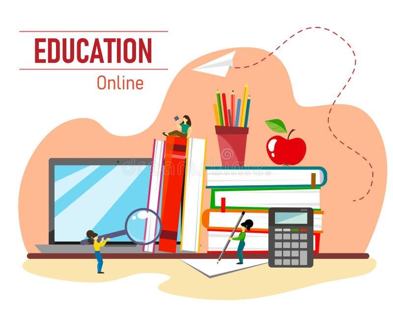 Vectorillustratie met stapel boeken, appel, laptop en karakters voor onderwijs Vlakke stijlillustratie stock illustratie
