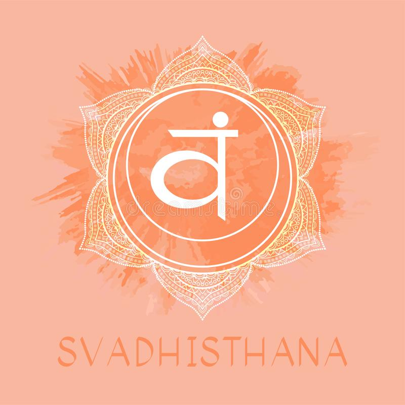 Vectorillustratie met symbool Svadhishana - Sacral chakra op waterverfachtergrond vector illustratie