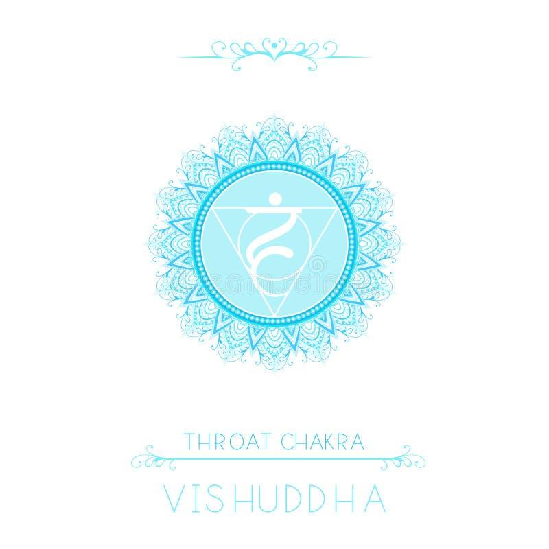 Vectorillustratie met symbool Vishuddha - Keelchakra en decoratieve elementen op witte achtergrond vector illustratie