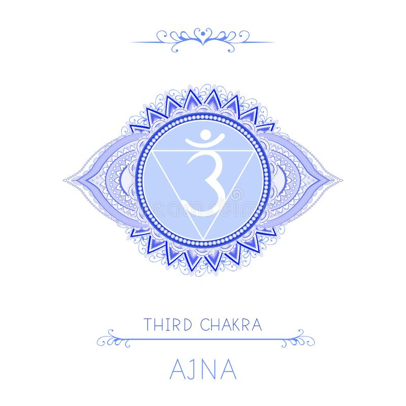 Vectorillustratie met symboolchakra Ajna - Derde Oogchakra en decoratieve elementen op witte achtergrond royalty-vrije illustratie