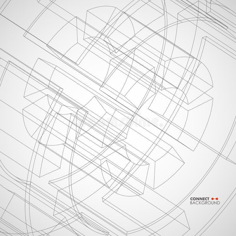 Vectorillustratie met technisch tekeningswiel royalty-vrije illustratie