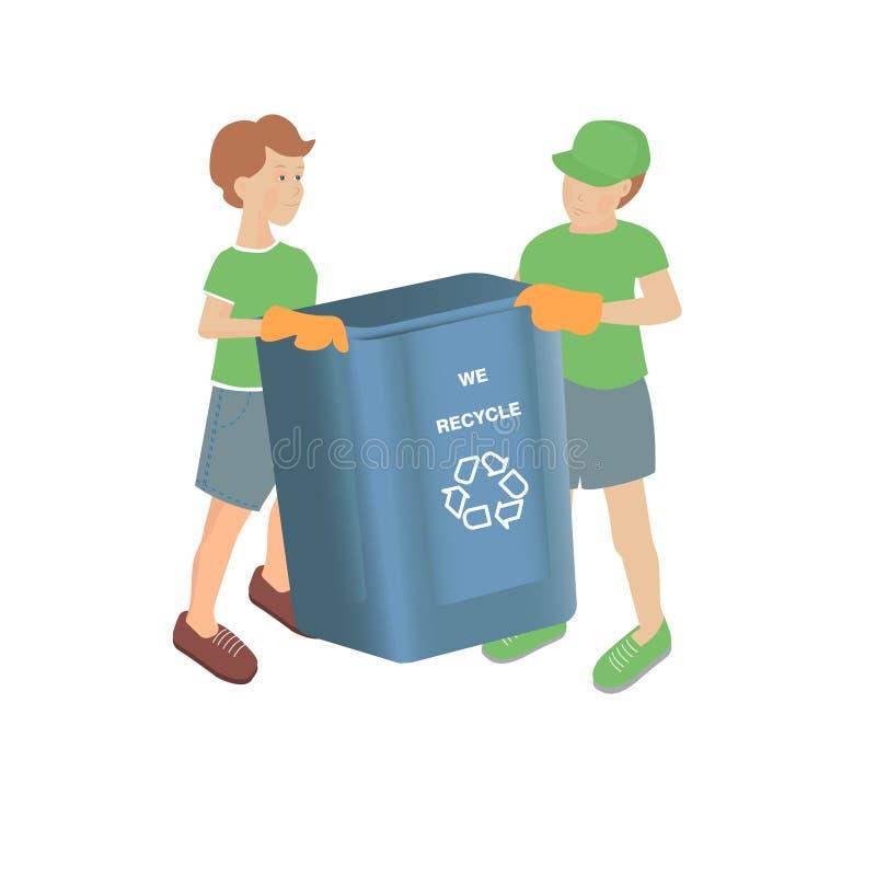 Vectorillustratie met twee jongens met lege recyclingsbak op een witte achtergrond royalty-vrije illustratie