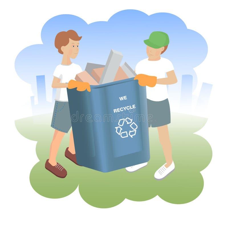 Vectorillustratie met twee jongens met volledige recyclingsbak op de achtergrond van stadslandschap royalty-vrije illustratie