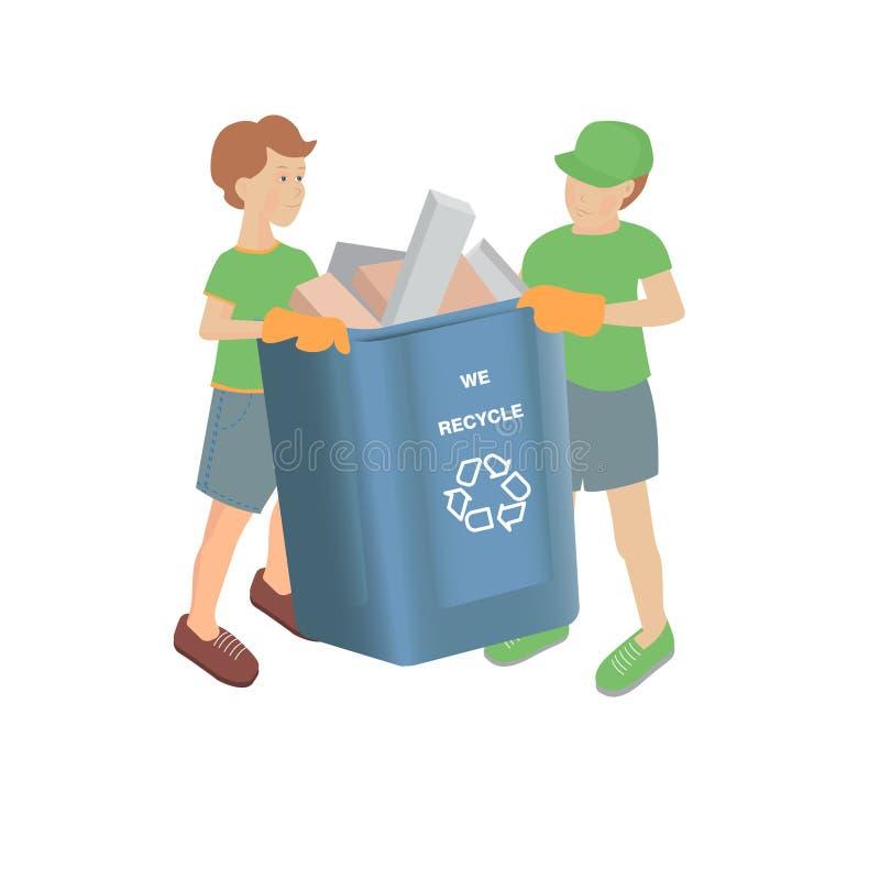 Vectorillustratie met twee jongens met volledige recyclingsbak op een witte achtergrond vector illustratie