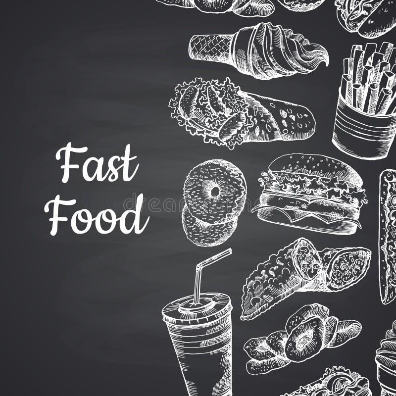 Vectorillustratie met witte snel die voedselhand op bord wordt getrokken vector illustratie