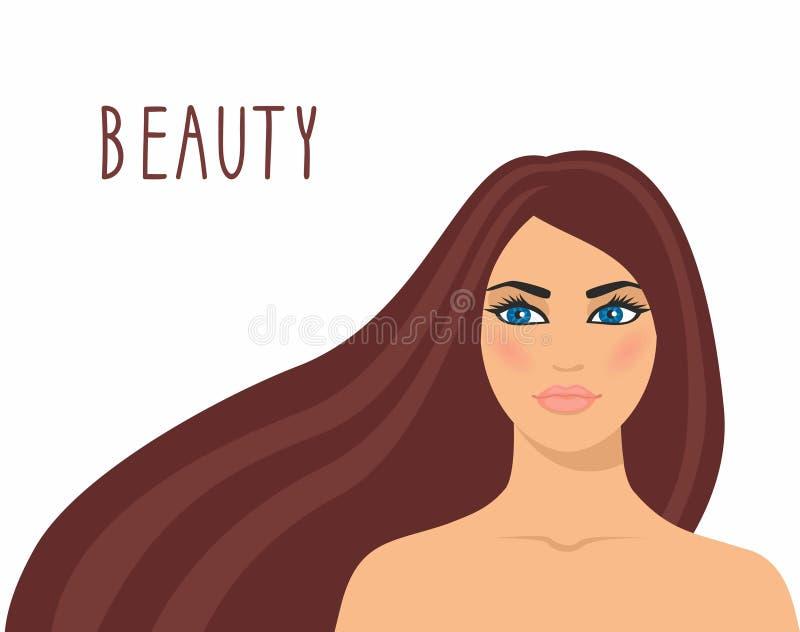 Vectorillustratie mooie bruin-haired die vrouw op witte achtergrond wordt geïsoleerd royalty-vrije illustratie