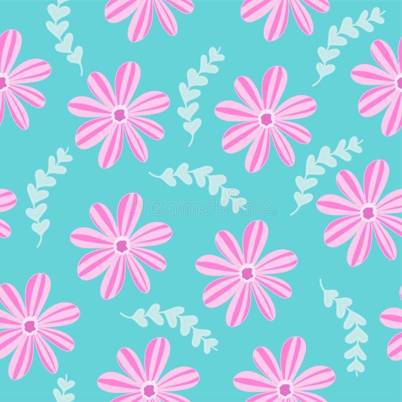 Vectorillustratie naadloos patroon met roze bloemeninstallaties stock foto's