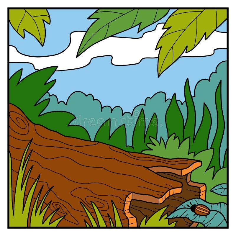Vectorillustratie, natuurlijke kleurenachtergrond Een gevallen boom royalty-vrije illustratie