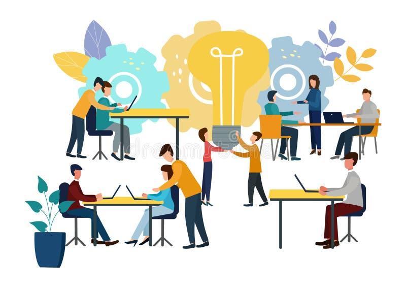 Vectorillustratie, online medewerker op het werk Bevordering in het netwerk De mensen zoeken nieuwe ideeën, samenwerkend in a vector illustratie