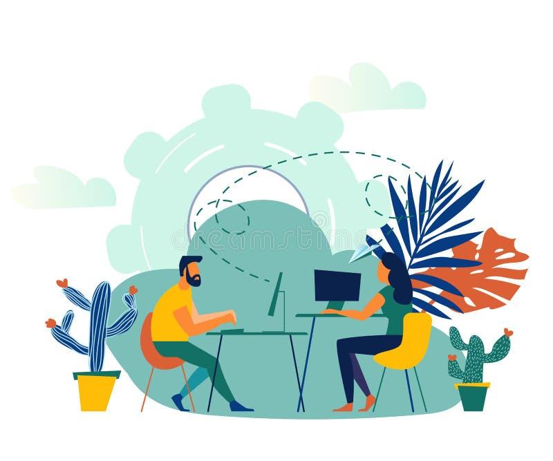 Vectorillustratie, online medewerker op het werk vector illustratie