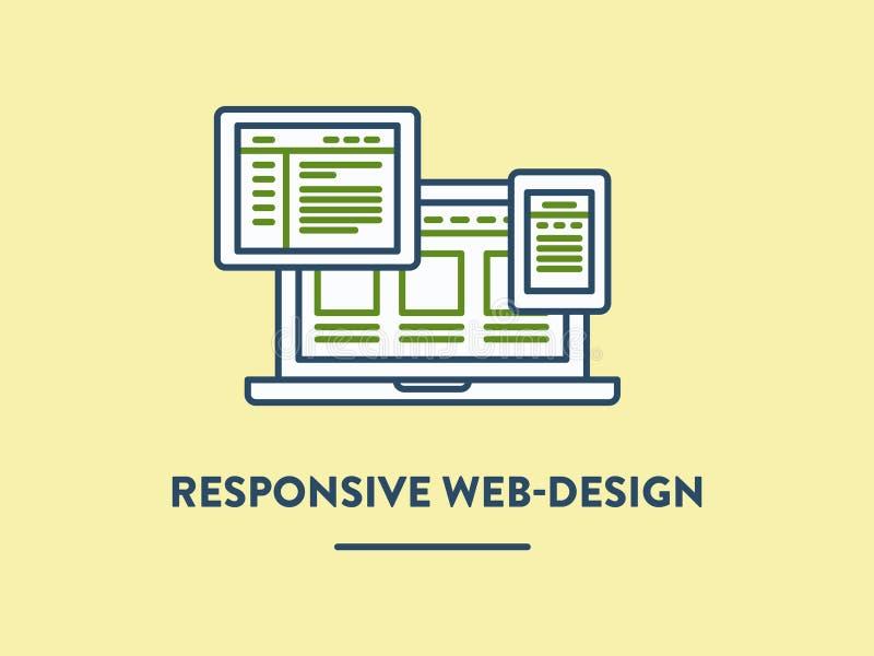 Vectorillustratie, ontvankelijk getoond Web-ontwerp royalty-vrije illustratie