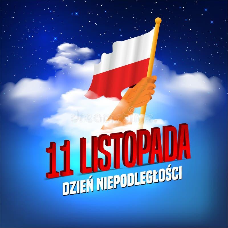 Vectorillustratie op de Dag van de themaonafhankelijkheid van Polen Handen met de vlaggen van Polen Vertaal Tekst in Pools: Onafh vector illustratie