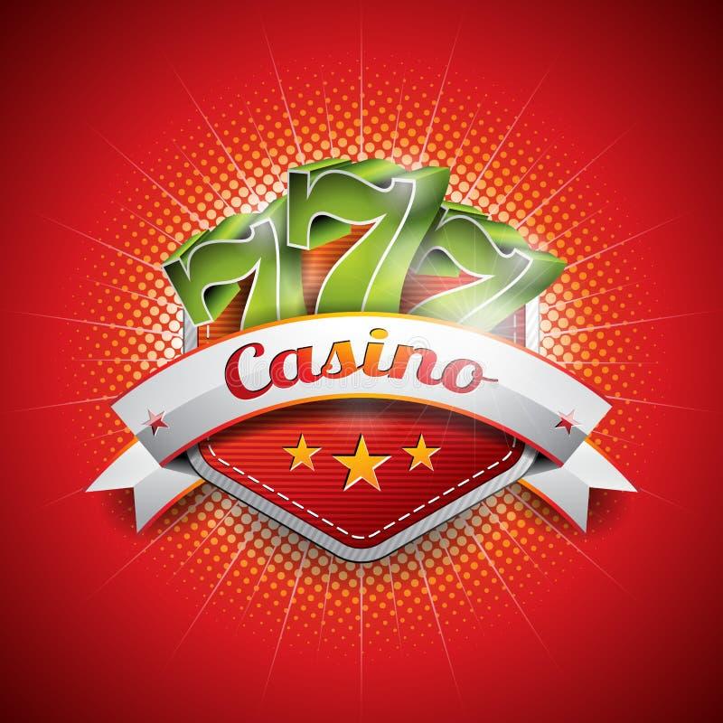 Vectorillustratie op een casinothema met sevens royalty-vrije illustratie