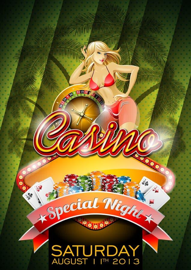 Vectorillustratie op een casinothema met sexy meisje vector illustratie
